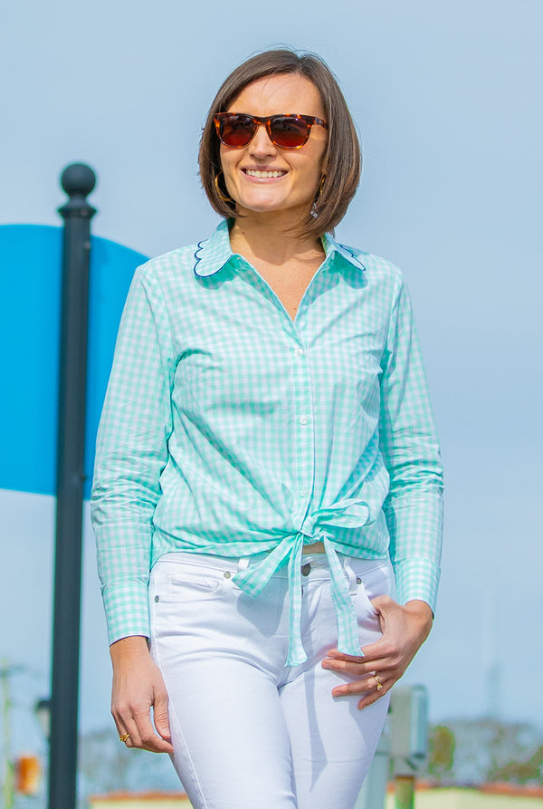 Tie Front Button Up Top in Mint Gingham