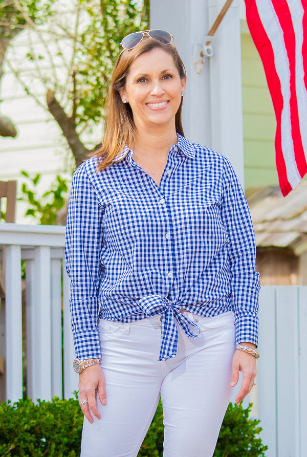 Tie Front Button Up Top in Navy Gingham