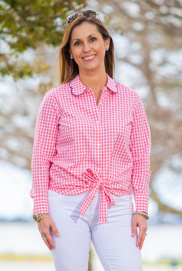 Tie Front Button Up Top in Pink Gingham