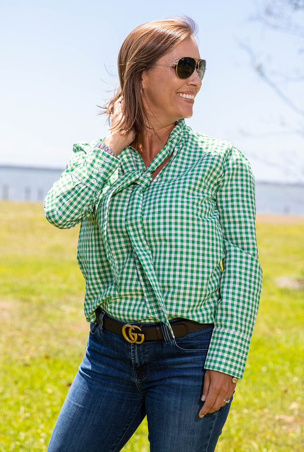 Tie Front V Neck Top in Green Gingham