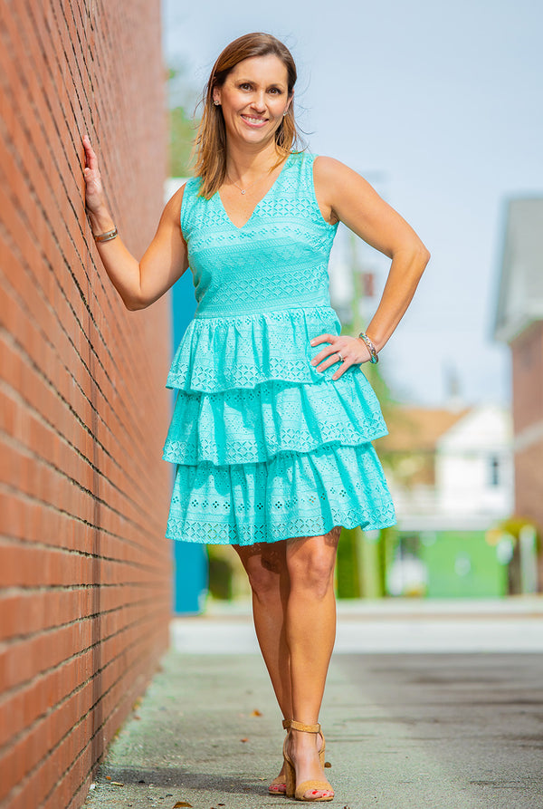 Tiered Eyelet Dress in Aqua