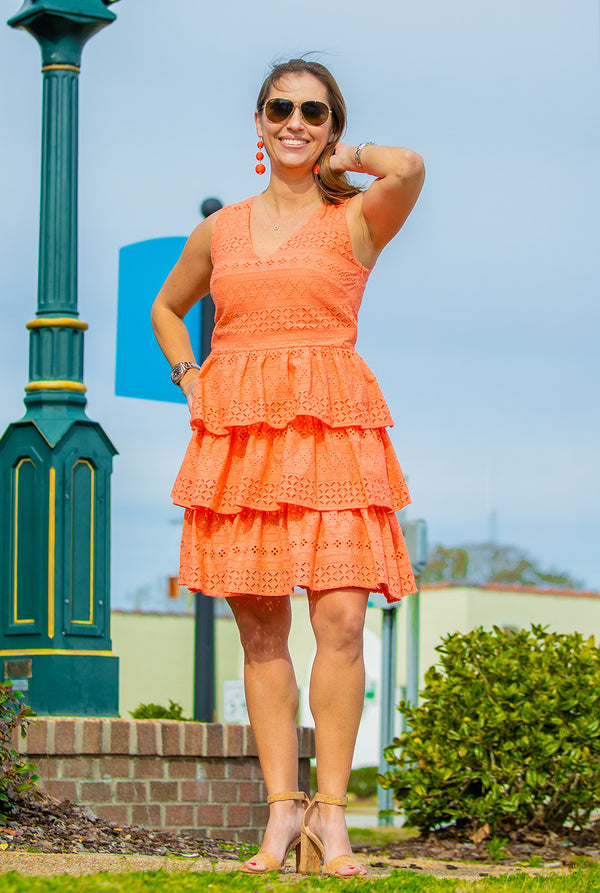Tiered Eyelet Dress in Coral