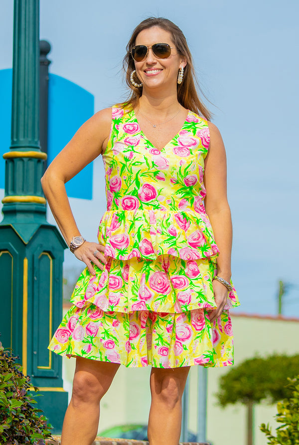 Tiered Dress in Derby Print
