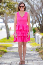 Tiered Eyelet Dress in Pink