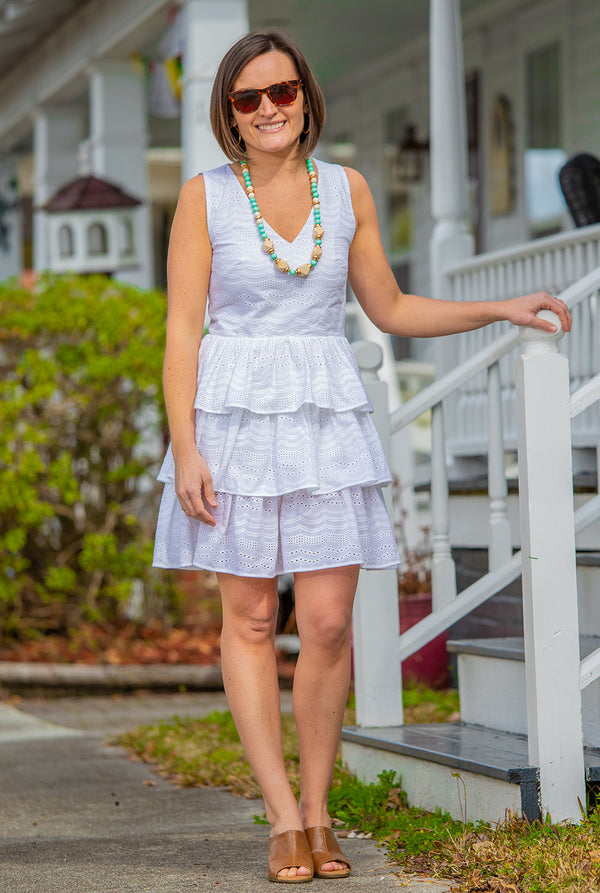 Tiered Eyelet Dress in White