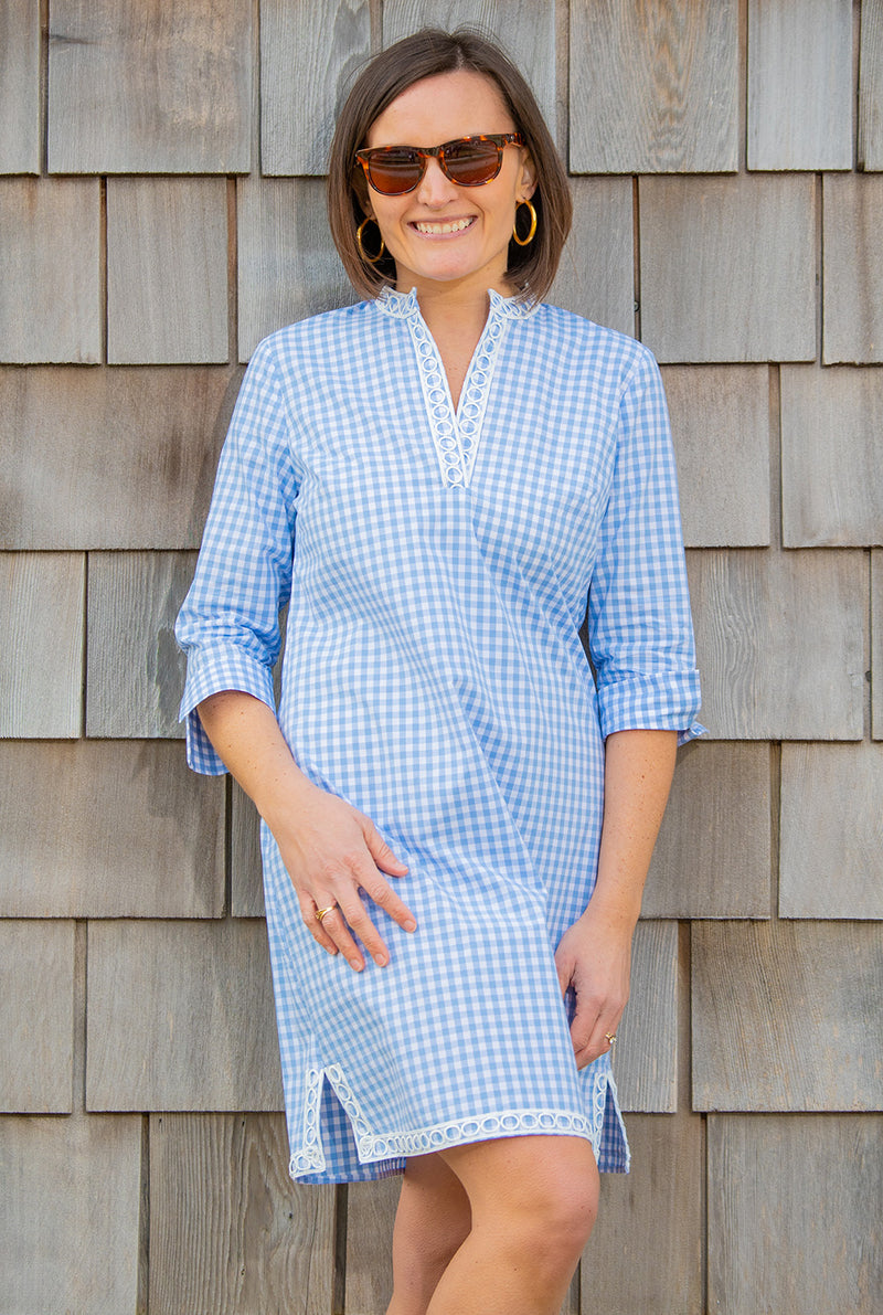 Gingham Tunic Dress in Cornflower Blue