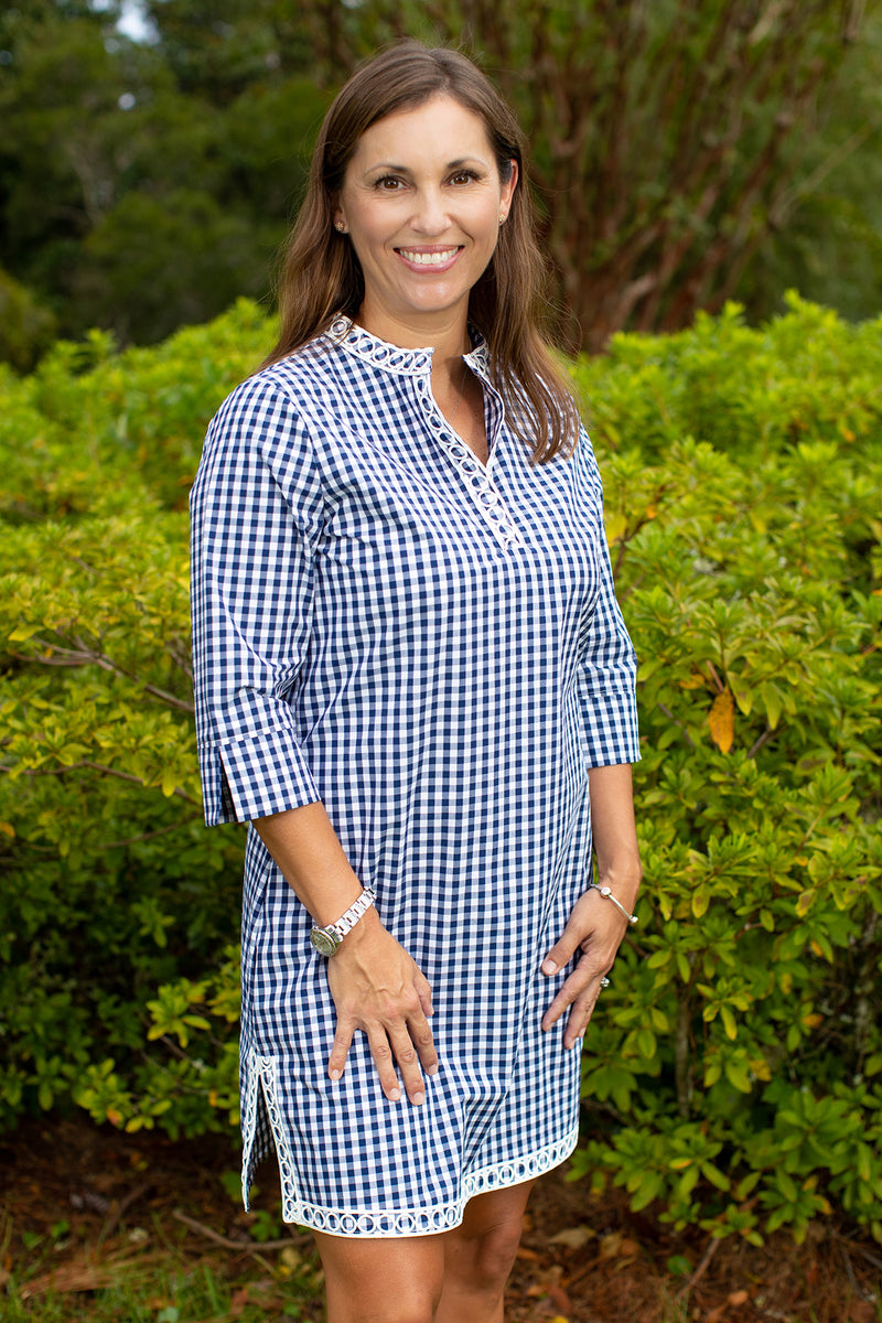 Gingham Tunic Dress in Navy