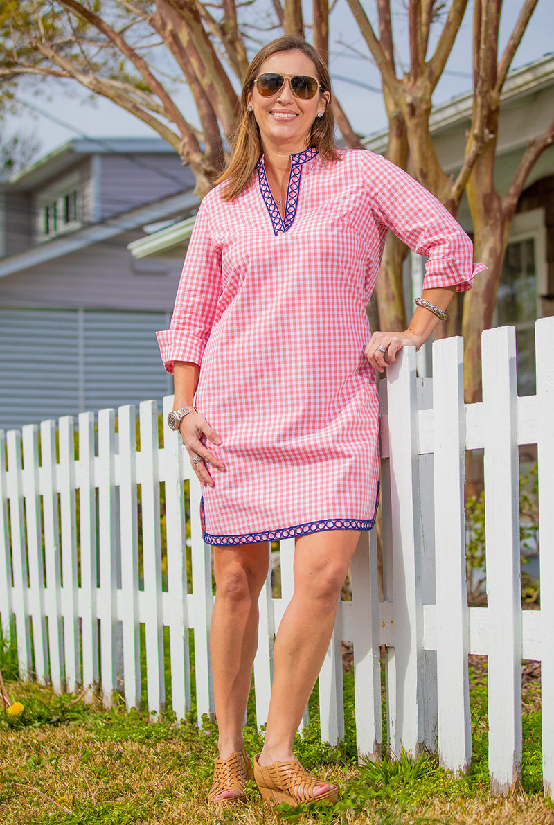 Gingham Tunic Dress in Pink