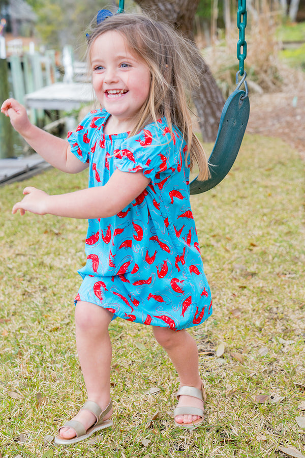 Girls' Allison Dress in Aqua Shrimp