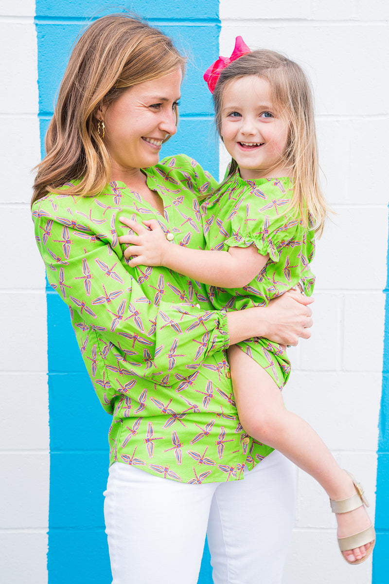 Girls' Allison Dress in Lime Dragonflies