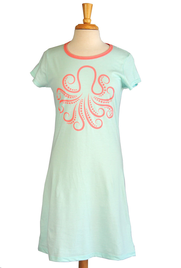 Amelia Dress - Octopus in Aqua