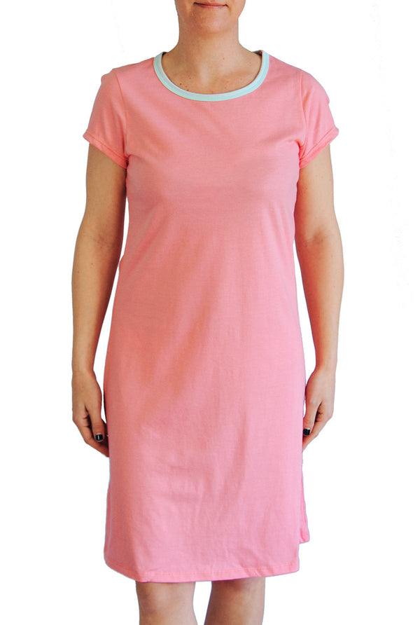 Amelia Dress - Solid Coral with Aqua Trim