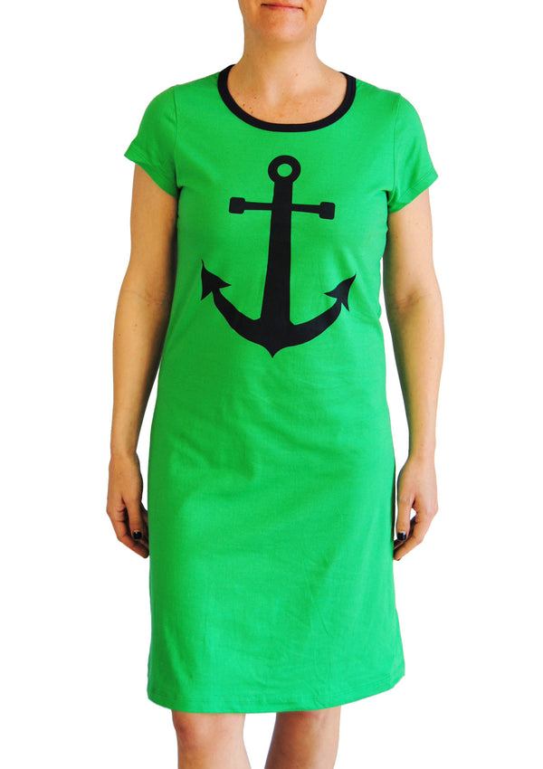 Amelia Dress - Anchor in Grass Green