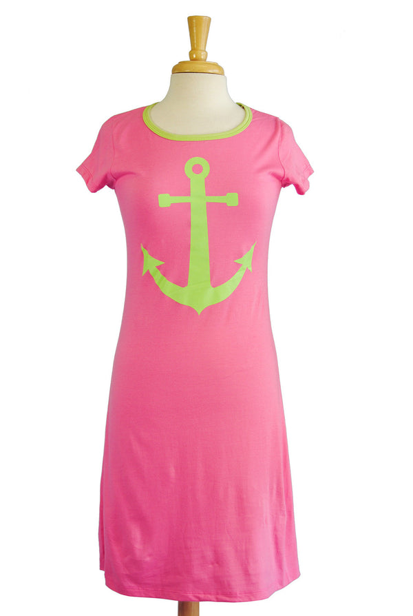 Amelia Dress - Anchor in Hot Pink