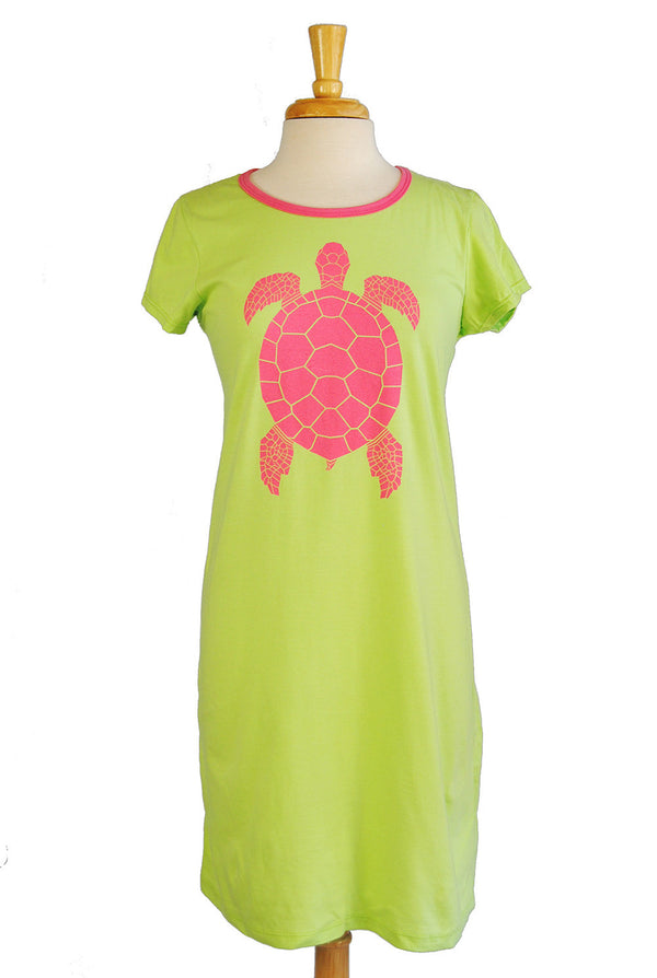 Amelia Dress - Turtle in Lime