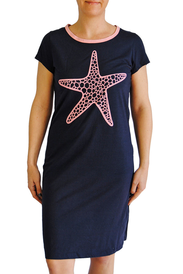 Amelia Dress - Starfish in Navy