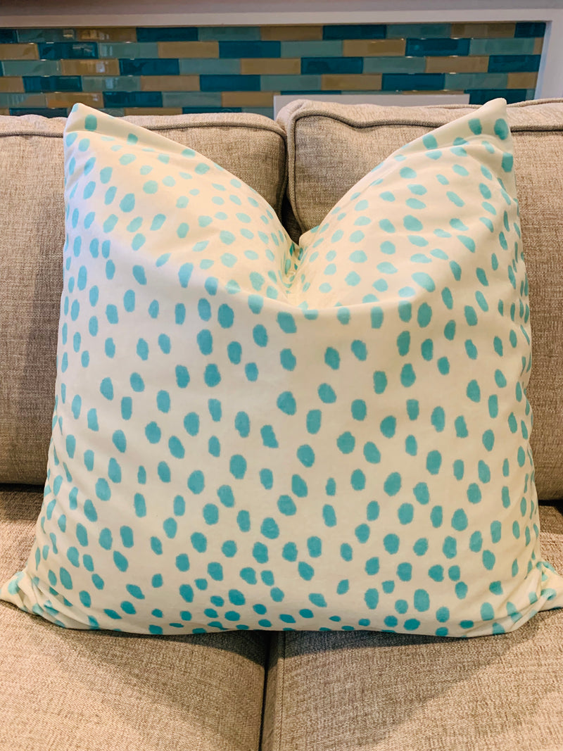 Aqua Abstract Dots-Velvet Throw Pillow COVER ONLY