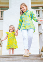 Girls' Bailey Dress in Blue & Lime Polka Dot