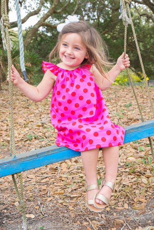 Girls' Bailey Dress in Pink & Red Polka Dot