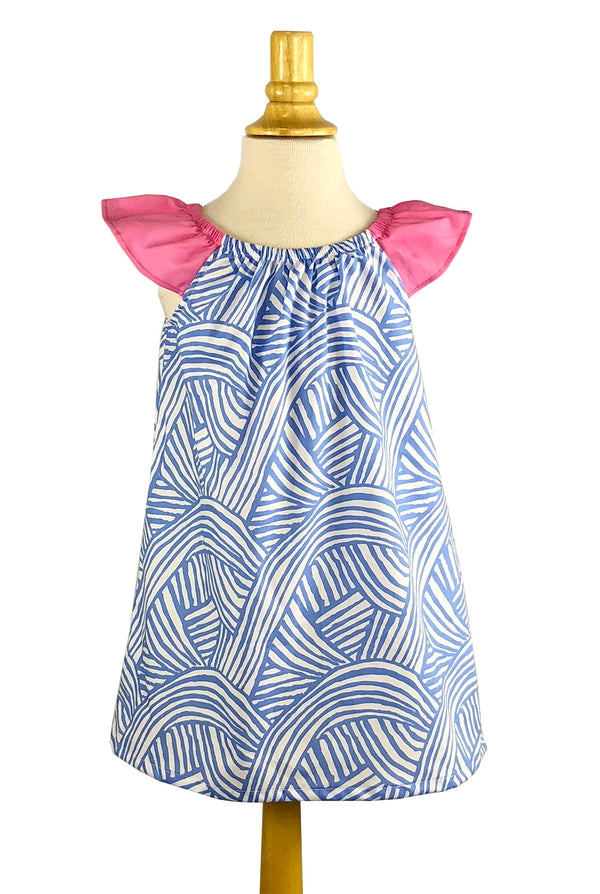 Girls' Bailey Dress in Blue Swirls