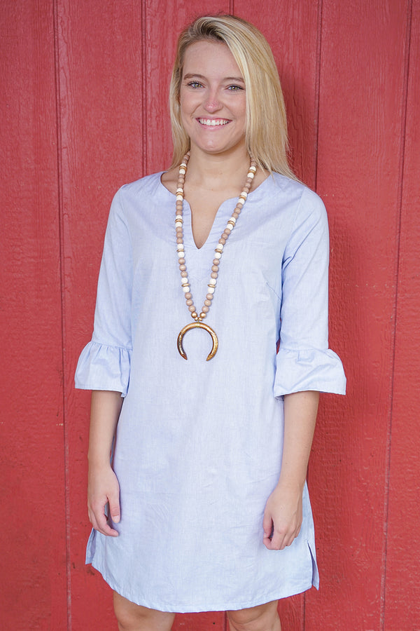 Bell Sleeve Dress in Chambray
