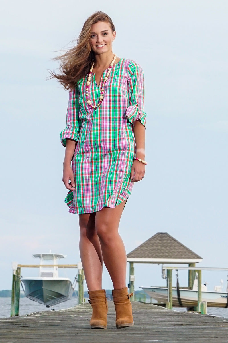 Bell Sleeve Dress in Preppy Plaid