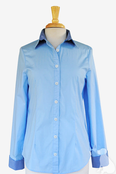 Bella Shirt in Blue with Navy Gingham
