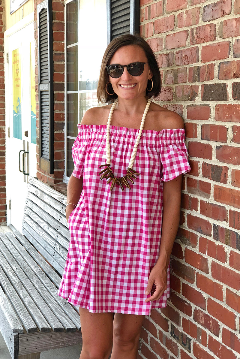 Betty Dress in Hot Pink Check