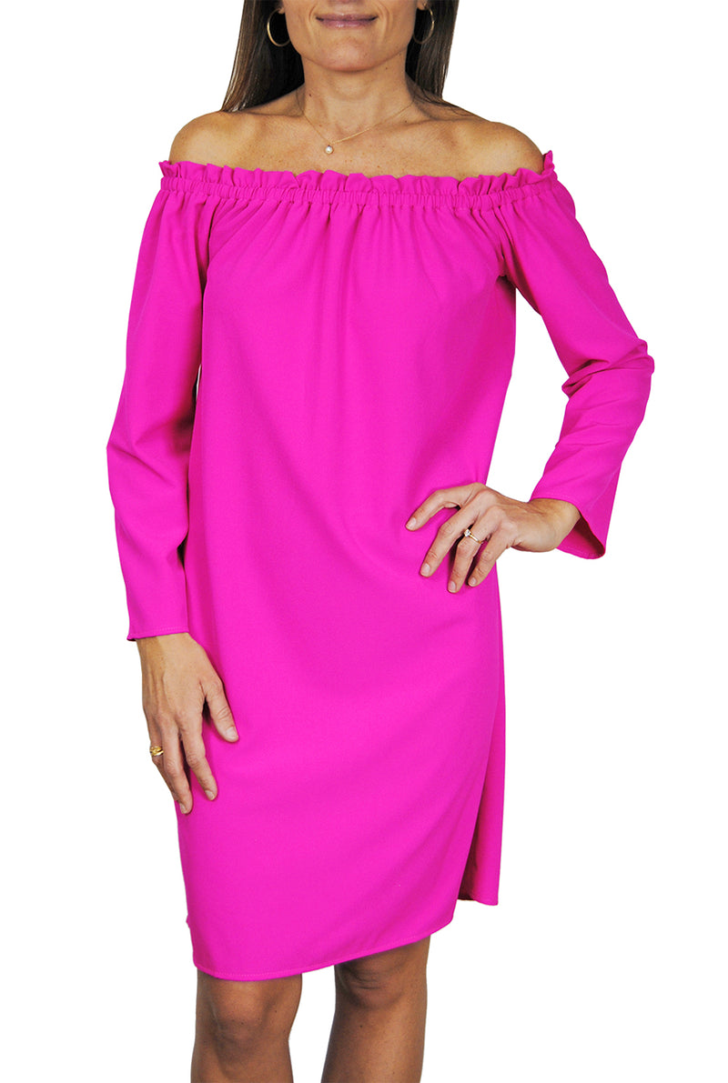 Betty Dress in Hot Pink Crepe
