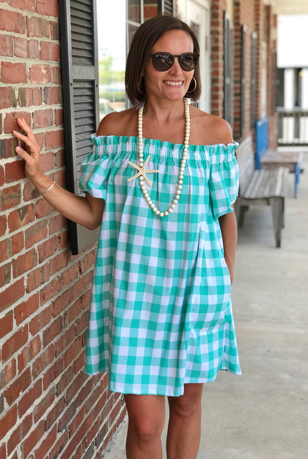 Betty Dress in Mint Check
