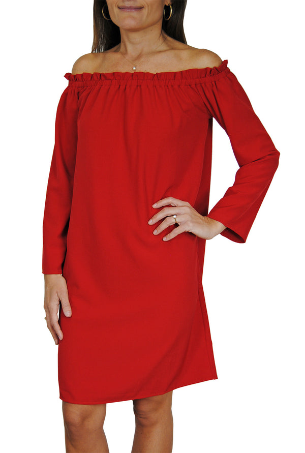 Betty Dress in Red Crepe