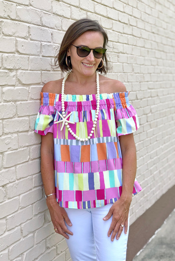 Ruffled Betty Top in Abstract Squares