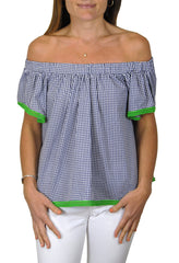 Betty Top in Navy Gingham with Green Pom Poms