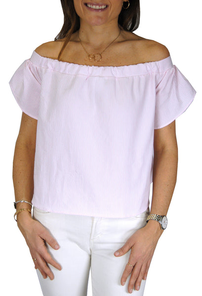 Betty Top in Light Pink Seersucker