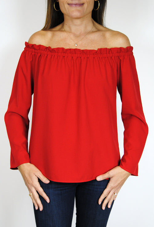 Betty Top in Red Crepe