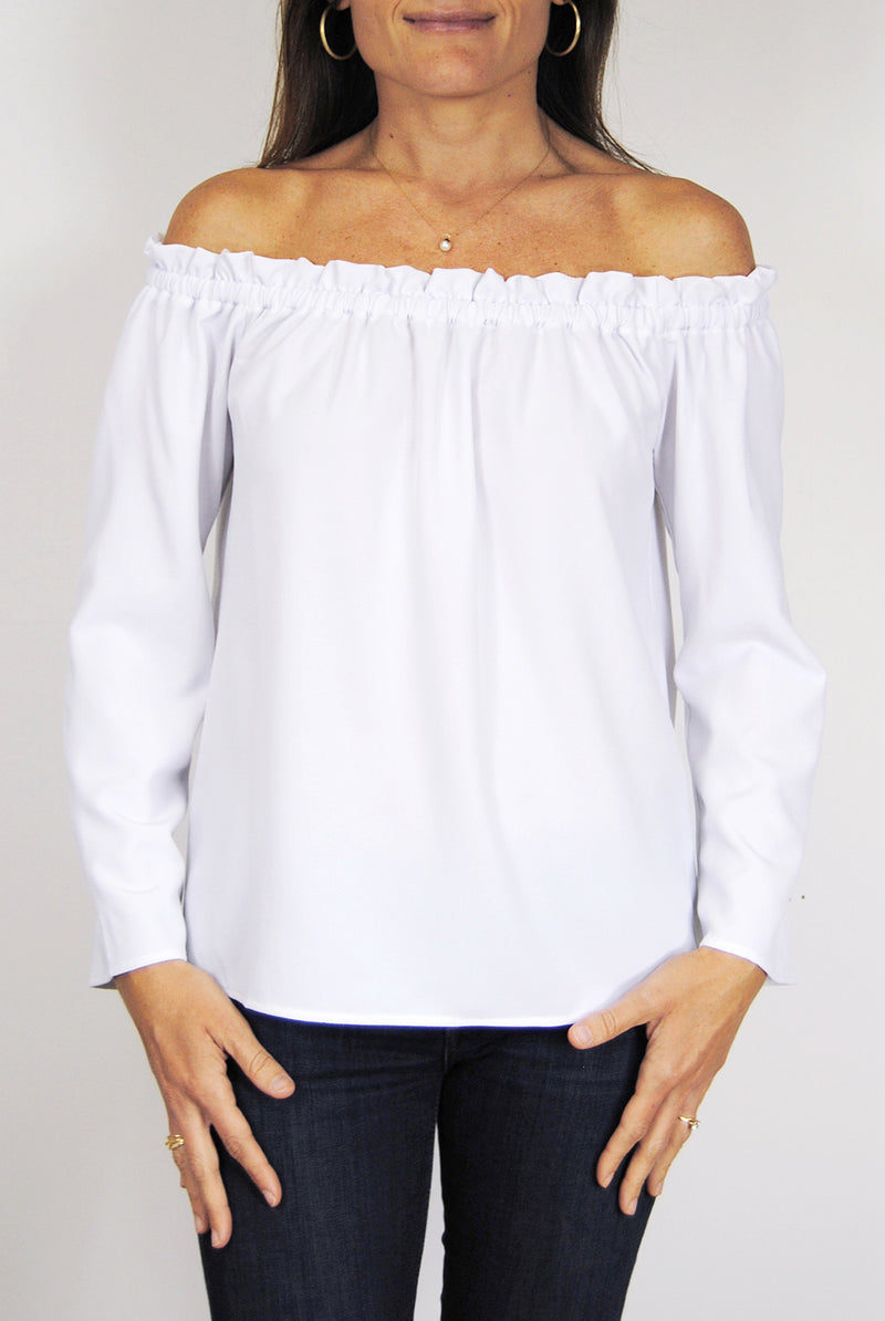 Betty Top in White Crepe