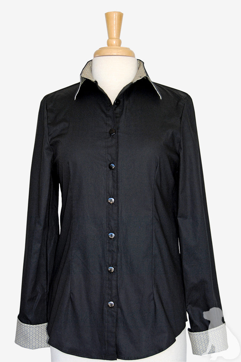 Bella Shirt in Black with Khaki Bits