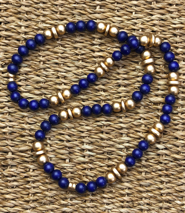 Navy and Gold Beaded Necklace