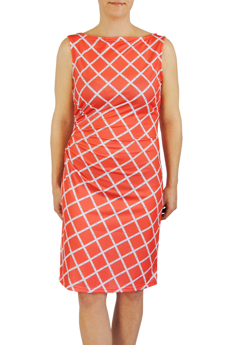 Boatneck Ruched Dress in Coral Lattice