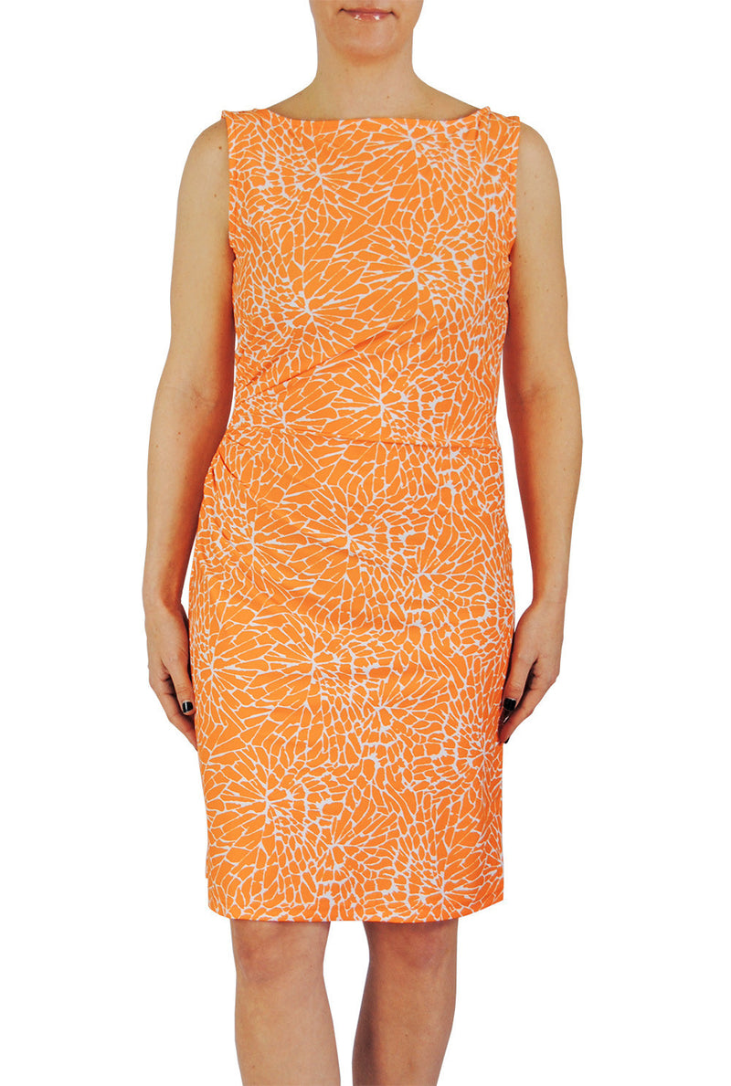 Boatneck Ruched Dress in EBI Orange Floral