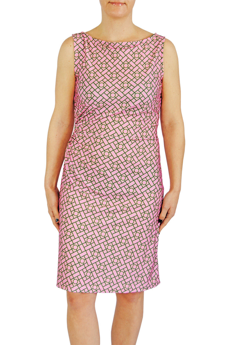 Boatneck Ruched Dress in Pink Chippendale