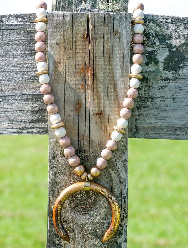 Magnolia Necklace - Brown Crescent with Tan Beads