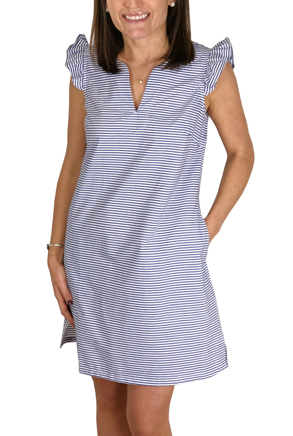 Cap Sleeve Dress in Navy Stripe