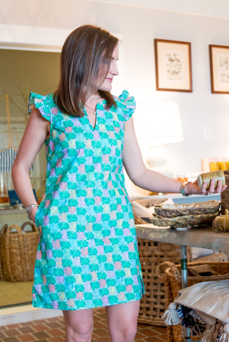 Cap Sleeve Dress in Pineapples