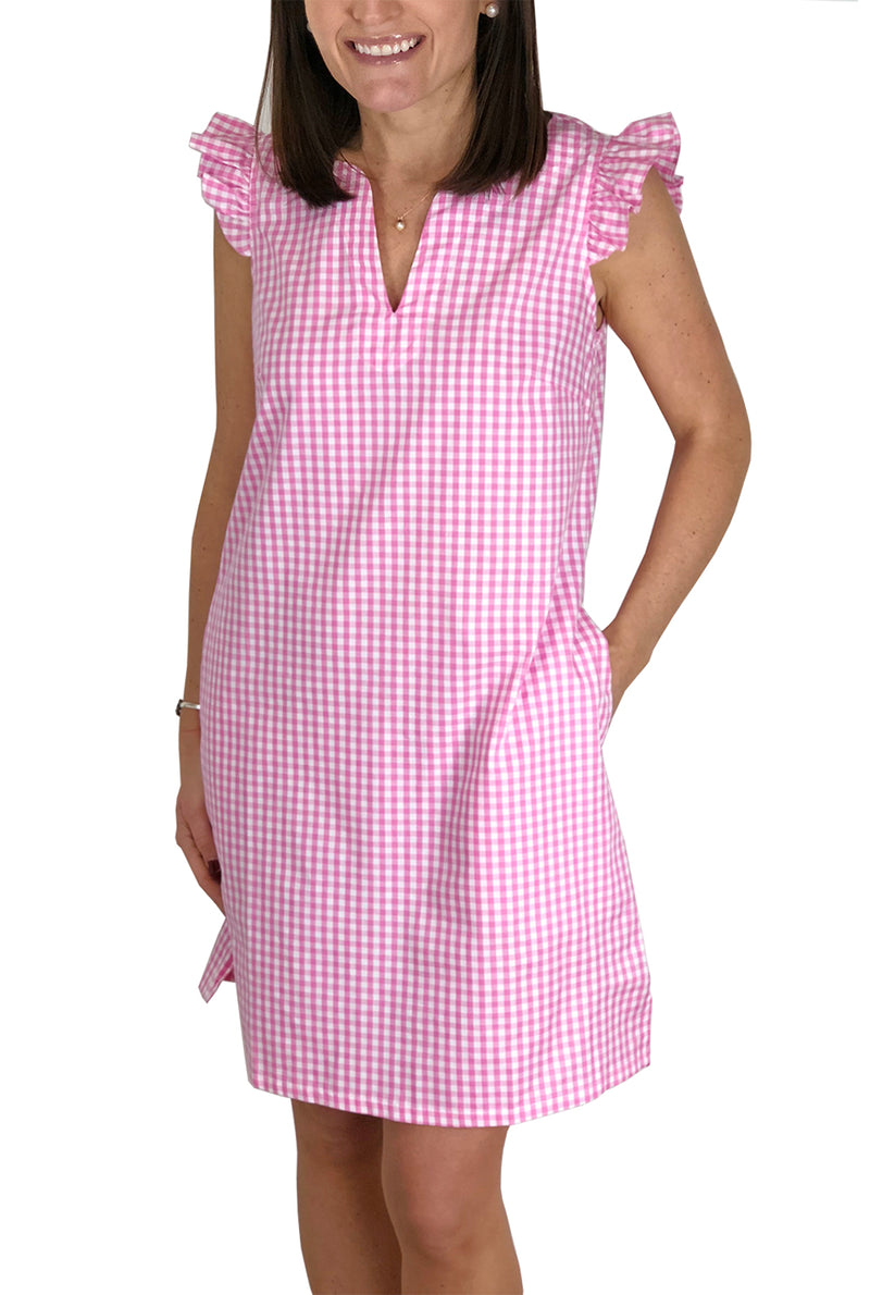 Cap Sleeve Dress in Pink Gingham