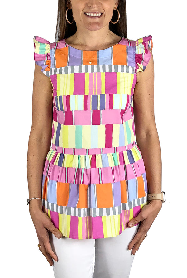 Cap Sleeve Peplum Top in Abstract Squares