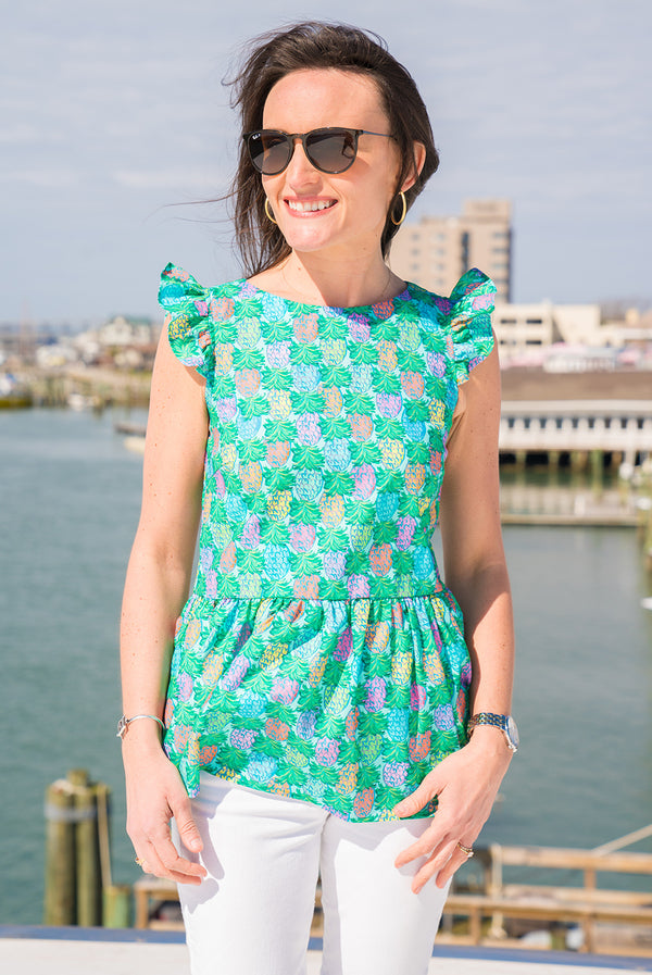 Cap Sleeve Peplum Top in Pineapples