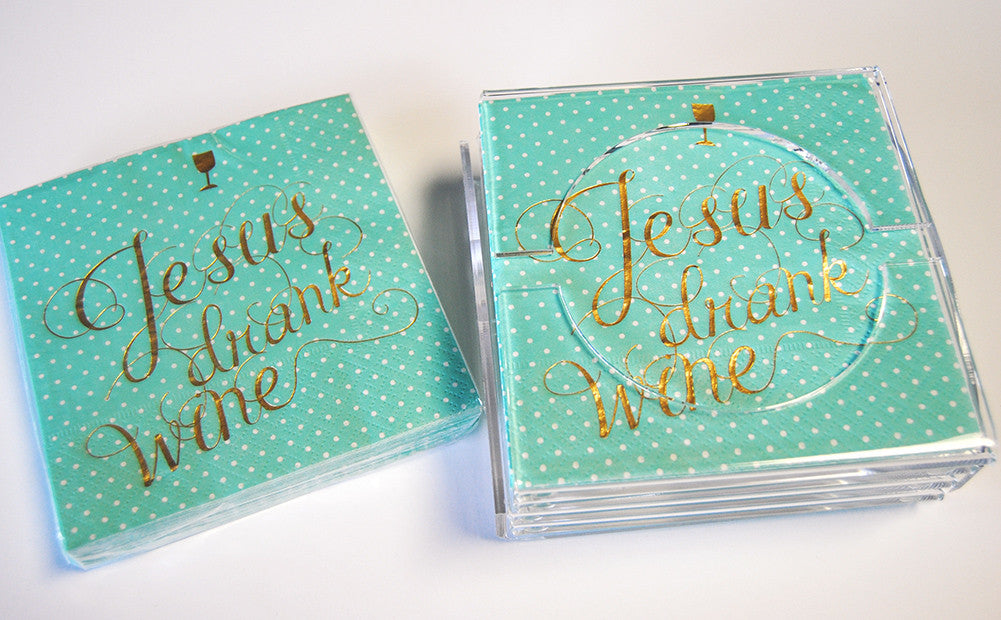 Cocktail Napkins - Jesus Drank Wine