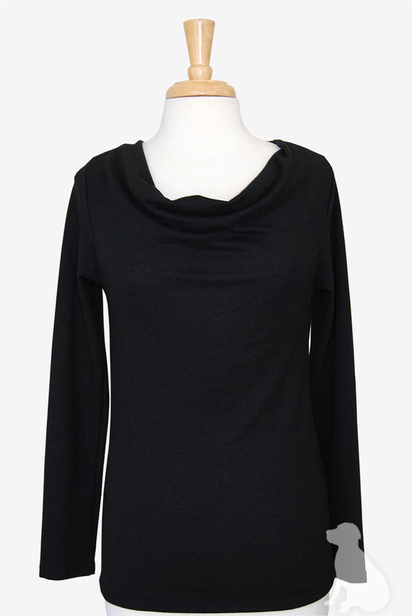 Cowl Neck Top in Black Sweater Knit