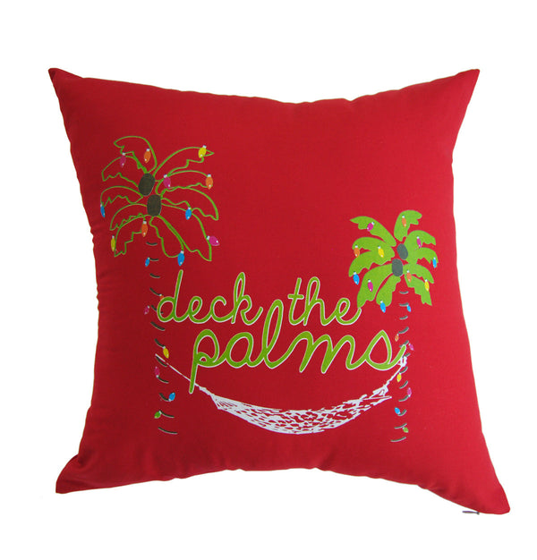 Pillow - Deck the Palms, Red (COVER ONLY)